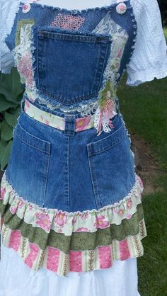"""Signature """"Jeans Gone Crazy"""" Pink and Green Jean Apron"""