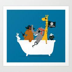 pirate, kids, tub, funny, animal, blue, fun, bath