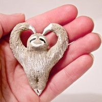 HeartShaped Sloth Pendant by CuriousBurrow on Etsy