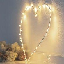 Coeur Lumineux 40 LEDs Fil Blanc Liva Heart