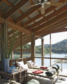 Sleeping porch by the lake with corrugated roof