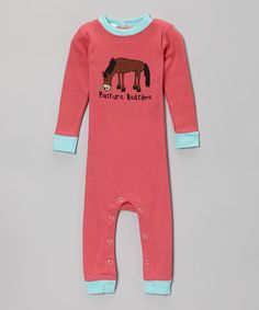 Take a look at this Pink 'Pasture Bedtime' Flapjack Playsuit - Infant by Lazy One on #zulily! Hahaha! So cute!
