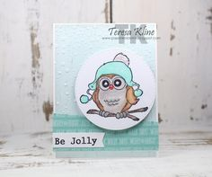 Art Impressions Rubber Stamps: Ai Whoots: Beanie Whoot Set (Sku#4127) ...handmade owl winter card.
