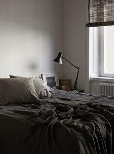 Bedrooms with black walls, black bedding, grey bedrooms design, dark bedroom inspiration Home Bedroom, Bedroom Decor, Master Bedroom, Monday Inspiration, Bedroom Inspiration, Swedish House, Interior Photography, House Doctor, Wabi Sabi