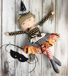 I'm going to add this baby to my store today at 7 PM UTC ❤️ Halloween Doll, Halloween Crafts, Doll Crafts, Diy Doll, Doll Face Paint, Fall Sewing Projects, Sewing Dolls, Doll Maker, Fairy Dolls
