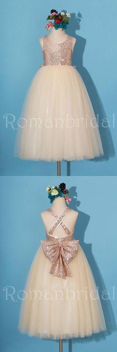 Rose gold sequins dress/pageant dress/ rose gold flower girl dress, champagne tulle Flower girl dresses, FG0114