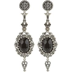 Konstantino Carved Silver & Onyx Dangle Earrings ($420) ❤ liked on Polyvore featuring jewelry, earrings, brinco, black, silver jewelry, long post earrings, long silver earrings, bezel earrings and filigree earrings