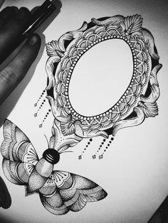 drawings since tattoos since email: jessicasvartvit Mirror Tattoos, Orisha, Mandala Tattoo, Skull Art, Tattoo Inspiration, Art Reference, Tattoos For Women, Tatting, Piercings