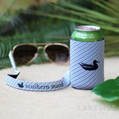 Coozie & Sunglass Strap Set in Blue Stripe Lakeside Cotton, Marley Lilly, Southern Marsh, Monogram Gifts, Blue Stripes, Jewelry Gifts, Sunglasses, Amp, Accessories