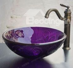 Elegant Floral Pattern Purple Color Round Transparent Tempered glass Vessel Sink Live a better life start with bed & bath inn