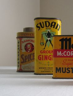 Vintage Spice Tin Collection 1930s 1960s Yellow