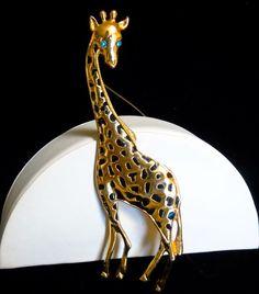 "Vintage 5"" Tall Glossy Gold Tone Enamel Spots and Rhinestone Eyes Giraffe Brooch #UnsignedBeauty #5TallEnamelRhinestoneGiraffeBroochorPin"