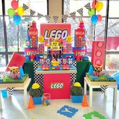 Amazing dessert table at a Lego party! See more party planning ideas at CatchMyParty.com!
