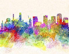 Birmingham Alabama Skyline Art by Mark E Tisdale