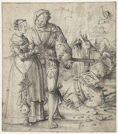 Artist: Graf, Urs, Title: Krijgsman en jonge vrouw in landschap, Date: 1500…