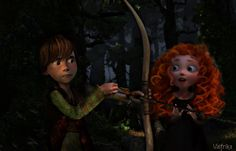 Little Hiccup and Merida - Archery lessons by Valfrika.deviantart.com on @deviantART. Awww, this is so cute! XD