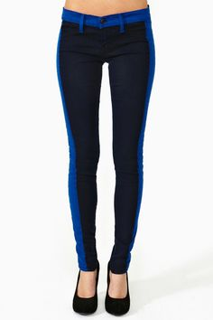 In Line Skinny Jeans - Blue   http://www.nastygal.com/clothes/in-line-skinny-jeans-blue#