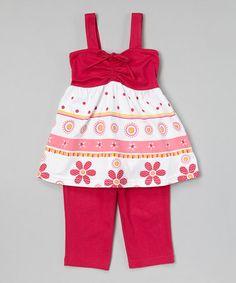 Look at this #zulilyfind! Fuchsia Tiered Tunic & Capris - Infant, Toddler & Girls by G&J Relations #zulilyfinds