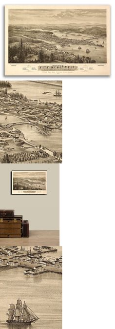 20x30 1879 Olympia WA Vintage Old Panoramic City Map