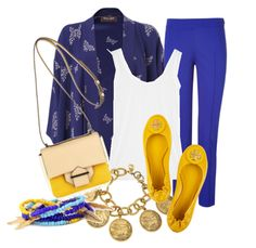 Blue trousers and Mustard Yellow