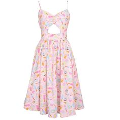 Retrolicious Sweet Tooth Candy Ice Cream Kawaii Cut Out Cami Tank... ❤ liked on Polyvore featuring dresses, cut-out dresses, pink camisole, cream dress, cutout dresses and creme dresses