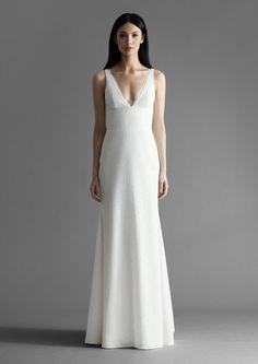 Style 4911 Brinlee Allison Webb bridal gown - Snow micro-sequin slim A-line bridal gown, V-neckline, with silk chiffon bias detail. New York Wedding Dresses, Designer Wedding Dresses, Wedding Gowns, Sequin Wedding, Sheath Wedding Gown, V Neck Wedding Dress, A Line Bridal Gowns, Beautiful Gowns, Bridal Style
