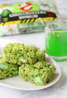 Ecto Flavored Ghostbusters Marshmallow Treats
