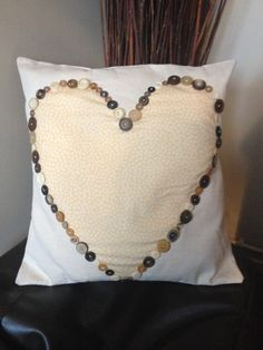 Handmade Appliqué Heart Cushion With Buttons 18 by MonMetierCraft