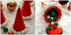 Santa Hat Cookie Cones with a Surprise