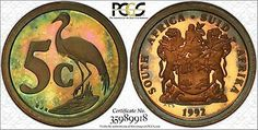 Find many great new & used options and get the best deals for 1992 SOUTH AFRICA 5 CENTS PCGS PR66RB COLORFULLY TONED GEM! ONLY 1 GRADED HIGHER at the best online prices at eBay! Free shipping for many products! Coins Worth Money, Coin Worth, Coins For Sale, 5 Cents, Proof Coins, Grade 1, Are You The One, South Africa, Helpful Hints