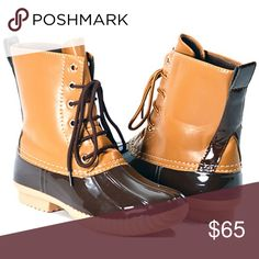 Duck Boots! This listing is for brown. These are selling like crazy for fall 🍁🍁🍁 $65 each or $110 for 2 pairs. Other colors available 😍 Select lining in each boot to keep you comfy. Stitched synthetic rubber sole for durability and grip 😊 Price FIRM unless bundled. Shoes Winter & Rain Boots