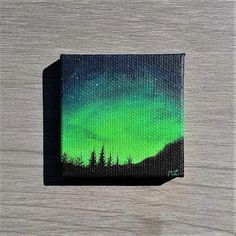"""TITLE // """"Green Light"""" SIZE // 2 inch x 2 inch, 1 cm thick MEDIUM // Professional grade acrylics on stretched canvas. It is finished with a matt varnish. OPTIONS // If you want this miniature painting turned into a magnet you can select that option in the drop down menu. You can also"""