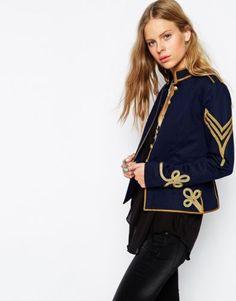 Ralph Lauren Denim Supply Women Indigo Military Army Officer Chevron Band  Jacket
