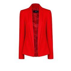 MANGO Crepé blazer ($30) ❤ liked on Polyvore featuring outerwear, jackets, blazers, mango, red, mango blazer, red jacket, red blazer, blazer jacket and mango jackets