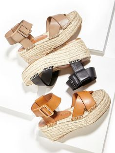 '70s-inspired flatform espadrilles with luxuriously smooth leather straps