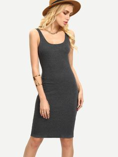 robe moulante sans manche -gris