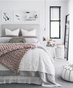Gray Bedroom Ideas Gray is the new white! Love the way this color is paired with serene tones for a calming bedroom decor.Gray is the new white! Love the way this color is paired with serene tones for a calming bedroom decor. Dream Bedroom, Home Decor Bedroom, Bedroom Furniture, Bedroom Bed, Bedroom Inspo, Bedroom Colors, Furniture Plans, Calm Bedroom, Girls Bedroom