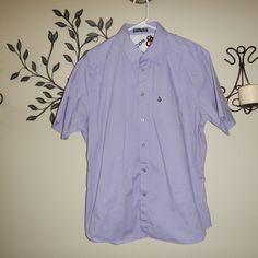 Volcom Mens Purple Lavender Button Down Short Sleeve Casual Shirt Size XL #Volcom #ButtonFront
