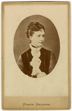 Catherine Dolgorukov (14 Nov 1847 - 15 Feb 1922) - Daughter of Prince Michael Dolgorukov and Vera Vishnevskaya. Long-time mistress of Tsar Alexander II of Russia, and later as his morganatic wife, was created Princess Yurievskaya.