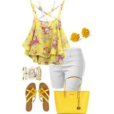 A fashion look from February 2015 featuring layering tank tops, womens plus size shorts and summer footwear. Browse and shop related looks.