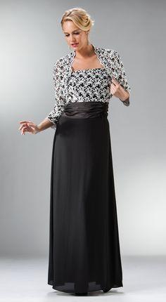 Long Black Mother of Bride Dress Embroidered Bolero Jacket