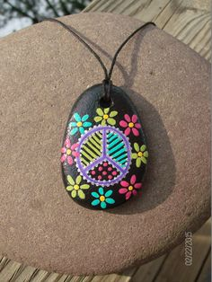 Peace Sign Flower Power Boho/Hippie Stone Pendant on 21 Inch Black Hemp Cord with Claw Clasp