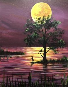 Paint Nite Virtual Event at Virtual Events with Kaytie Smith, Tacoma, WA, US Easy Canvas Art, Easy Canvas Painting, Nature Paintings, Landscape Art, Easy Landscape Paintings, Painting Inspiration, Amazing Art, Watercolor Art, Pictures To Paint