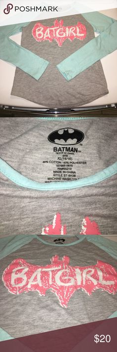 BatGirl Shirt 3/4 sleeve BatGirl shirt. Sleeves are teal and main color is grey. Shirt size says 14, although it fits more on the 8/10 size. Very good condition. Shirts & Tops Tees - Long Sleeve