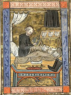 The best place to write: St Martin in bed, several books open in front of him, writing on a wax tablet (Mazarine 753)