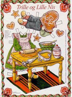 Trille og Lille Nis. Scandinavian Christmas paper dolls--making gingerbread