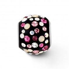 Sterling Silver 12mm Round Black Bead with Multi-Pink Crystals