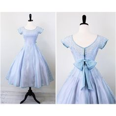 vintage 1950s 50s dress Sky Blue and Lavender Cupcake Dress with... ($172) ❤ liked on Polyvore