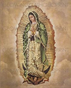 """This is a Lithograph print of Our Lady of Guadalupe, Virgin Mary, believed to be miraculous and protective. La Virgen de Guadalupe, clothed with the sun, and the moon under her feet."""" Is iconic in our belief in the Catholic Church. Religious Tattoos, Religious Art, Virgen Mary Tattoo, First Communion Gifts, Holy Mary, Chicano Art, Art Thou, Mother Mary, Virgin Mary"""