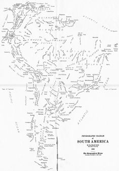 """A """"word map"""" of South America, published by the Geographical Press in 1935, consisting entirely of hand-lettered words. The map is supposed to show the labeled landforms of South America; this copy was erroneously printed without the landforms."""